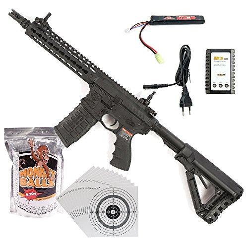 G&G M4 CM16 SRL Airsoft-Gewehr Kal. 6mm Softair BBs ***<0,5 Joule P14!*** im ★SET★ mit Akku, Ladegerät, Softair BBs und 100 ShoXx.® Zielscheiben (Softair Cm16)