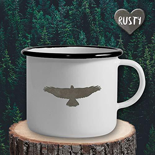 The Manufacture Adler Vogel Tier Emaille Becher Tasse als Geschenk, weiß Outdoor Ausstattung