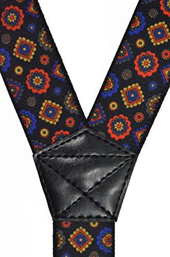 Bretelles entièrement réglable pour tous les âges avec 3 Clips, Élégant Modèle Noir avec Bleu, Rouge et Or Motifs