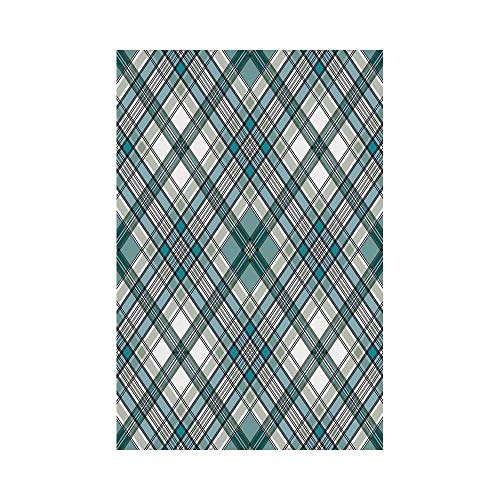 gthytjhv Checkered Vintage Fashion English Country Style with Modern Look in Light Colors Decorative Aqua Light Grey White House Garden Family Event Decoration