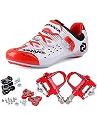 TXJ - Zapatillas de ciclismo con pedales de clip, SD-003 Weiß / Rot