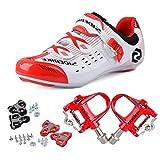 TXJ Chaussures de Vélo cyclisme de route avec Pédale de vélo de course EU Größe 44 Ft 27.5cm (SD-003 Rouge / Blanc)(Pédale Rouge)