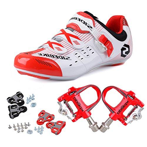 TXJ Rennradschuhe Fahrradschuhe Radsportschuhe mit Klickpedale EU Größe 40 Ft 25cm (SD-003 Weiß/Rot)(pedale Rot)