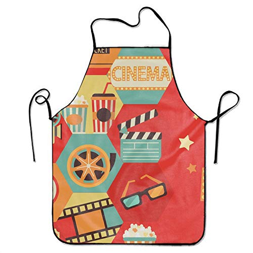 ERCGY 2019 Apron Commercial Restaurant Kitchen Apron Cinema Customized Snapapron for Serving Cooking (De Halloween 2019 Cinema)
