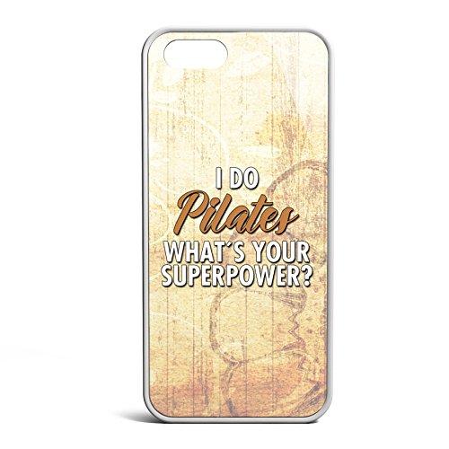 Smartcover Case Pilates Super Power z.B. für Iphone 5 / 5S, Iphone 6 / 6S, Samsung S6 und S6 EDGE mit griffigem Gummirand und coolem Print, Smartphone Hülle:Samsung S6 EDGE weiss Iphone 5 / 5S weiss