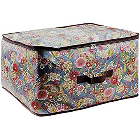 Moolecole Casa Acolchar Ropa Bolsa Ahorradoras De Espacio Estuche De Cremallera Tela De Oxford Almohada Manta Caja Contenedora Flors 63*43*20cm