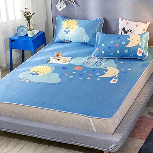 QNJM Faltbare Sommerkühlmatte Fürs Bett, Ice Silk Schlafmatratze Für Erwachsene, Doppelseitige Atmungsaktive Kühlkrabbelunterlage (Color : B, Size : 6ft Bed)