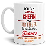 Tasse mit Spruch Chefin Rot-Orange - Kaffeetasse/Mug/Cup - Qualität Made in Germany