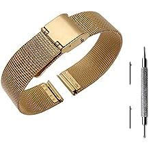 pinhen 14mm liberación rápida de la pulsera malla acero inoxidable Metal reloj banda correa pulsera para Asus ZenWatch 3/Pebble tiempo redondo y otros relojes con 14mm de ancho