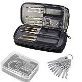 LTC ® Profi 24-teiliges Lockpicking Set Dietriche Kit Schlüssel Extractor Werkzeug + Transparents Vorhängeschlösser + 10er Allzweck Schlüssel
