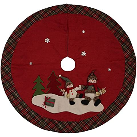 "Sea Team 47"" Luxury Collection Cotton Blend & Non-woven Fabric Double-layer Applique Christmas Tree Skirt with Stereoscopic Pop Christmas Elements (Velcro Closure, Burgundy)"