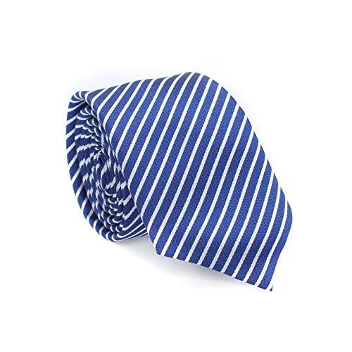 LANSILK Men Tie Set - Klassische Auswahl an schmalen Business Krawatten, Manschettenknöpfe und Taschentuch, Geschenkbox-Set, 100% Seide (Blue Navy White Thin Stripe Classic Silk Slim Skinny Tie) -