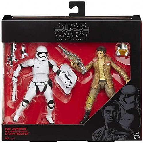 Star Wars Black Series 6' Poe Dameron and First Order Riot Control Stormtrooper 2 Pack Figure