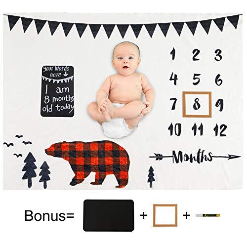 Beinou Meilenstein Decke Baby Monats Decke Flanell Neugeborenen Fotoshooting Hintergrund Requisiten Wrap Matten Alter Decken Kinderzimmer Dekor Dusche Geschenke für Mädchen Jungen 130 x 102 cm
