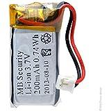 Microbatt - Pile alarme MTU01X avec PCM 3.7V 200mAh