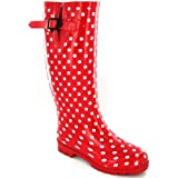 Ladies White Spot Red Funky Wellingtons