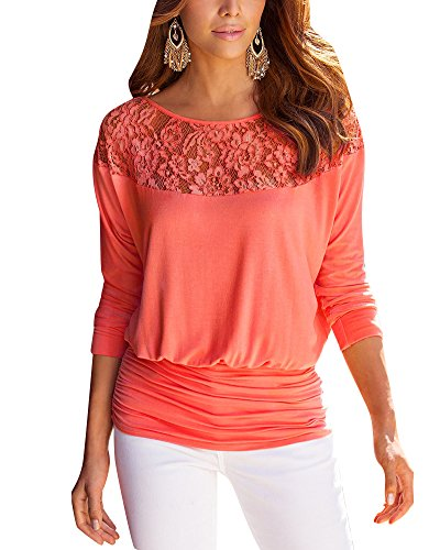PengGeng Femme Dentelle Couture T Shirt Manche Longue Lâche Blouse Chemise Orange