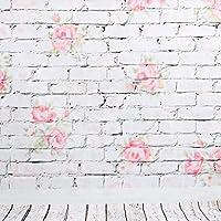 BPS Fondo Fotografia Estudio de Pared 1.5 x 2.1 m (3 x 6.9 pies) Tela de Fondo para los Retratos, Impresión de Flores Pared de Ladrillo de Piso de Madera