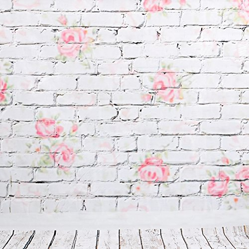 Hintergrund Fotostudio für Portraits 2.1x1.5m, Verzierte Mauer Stoffblume und Boden über Holz, Wasserdichtem Material