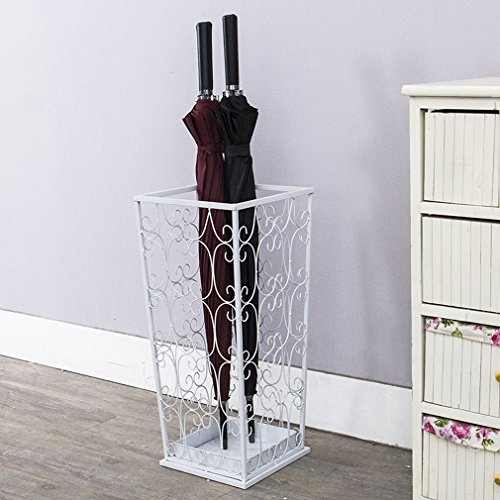 Unbekannt European Wrought Iron Umbrella Stand Home Hotel Lobby Creative Umbrella Stand Storage Rack Shelf Lobby Umbrella Stand (White) (Size 20*20*53cm)
