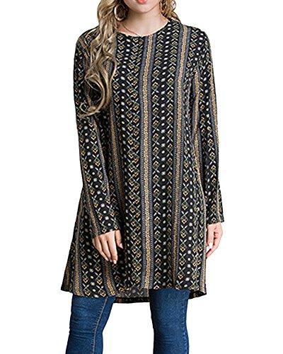 Damen Langarmshirt Casual Rundkragen Tunika Kleid T-Shirt Bluse Kleid Große Größen Kurze Kleider...