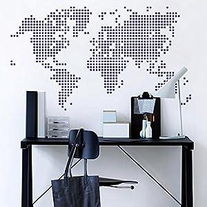 Mapa del Mundo pared adhesivo Removable Map de Calcomanía de Vinilo de pared decorativo de tarjeta World Map–Vinilos Salón Artificial de Decorativo de, Marrón, 58″hx100″w