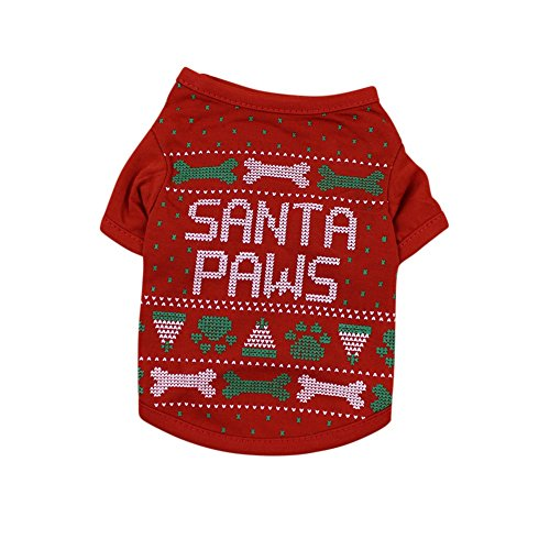 PanDaDa Christmas Small Pet Clothes Dog Clothes Dog Shirt Clothes for Pet Puppy Tee shirts Dogs Costumes Cat Tank Top Vest