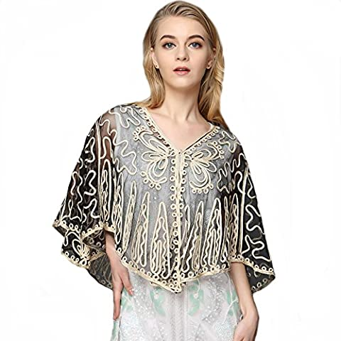 Women's Batwing Sheer Lace Mesh Embroidered Cropped Bolero Shrug Shawl Poncho , One size up to 20
