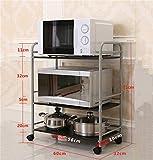Küchenmöbel-WXP Edelstahl Küchenregale Mikrowellenofen Racks Boden Küche Zubehör Lagerregale Metall mit Caster 3 Tiers WXP-Küchenschränke und Besteckschränke ( größe : 60 )