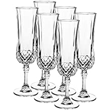 Cristal d'Arcques, Serie Longchamp, copa de cava 14 cl en el conjunto de 6, encarna gracia y elegancia