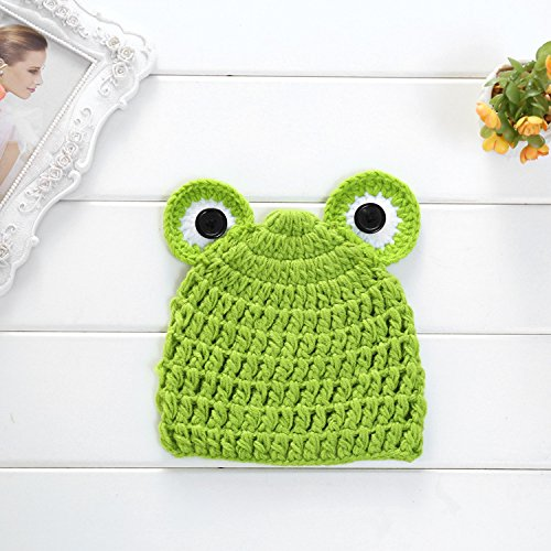23% OFF on Generic Green   Lovely Cute Baby Hats Newborn Knit Crochet Frog Infant  Hat Photo Prop Outfit Baby Photography Props Cap on Amazon  01f7cb8ef02e