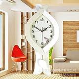 CNBBGJ Creative semplice stile moderno in legno massiccio unico pendolo orologio da parete grande antico orologio silenzioso europeo orologio disco,Bianco