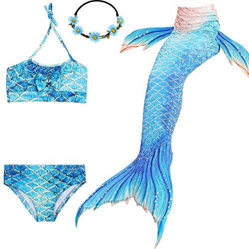 UrbanDesign Meerjungfrau Bademode Mädchen Meerjungfrau Badeanzug Schwanzflosse Zum Schwimmen Kostüm Für Kinder, 11-12 Jahre, Königin Fisch