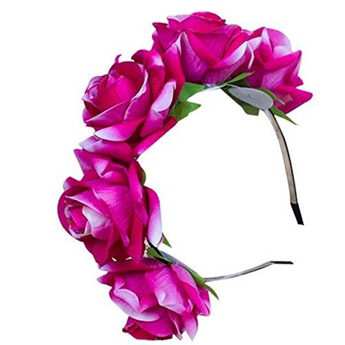 Diadema de flores rosa hecha a mano, Tukistore Viajar Boho Diademas pa