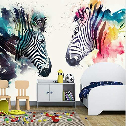 Steaean Moderne Zebra-Wandgemälde des Abstrakten Kunstwandbildes 3D Malereischlafzimmercaférestaurant-Hintergrundwand, 200 * 140Cm (Zebra-zimmer-dekorationen)