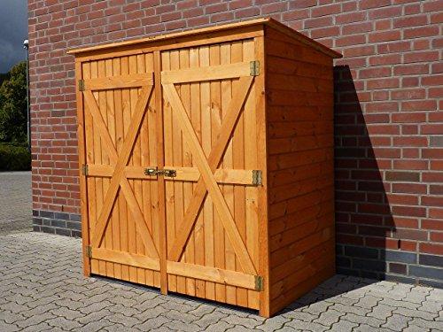 Mülltonnenbox BQ2 für 2 Tonnen in Holz, Farbe Honigbraun