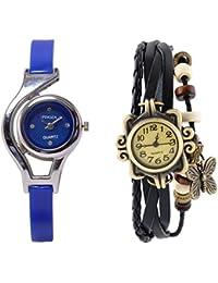 Freny Exim Combo Of 2 Soft Leather Black Dori Bracelet With Sophisticated Blue Round Dial Soft Strap Analog Women...