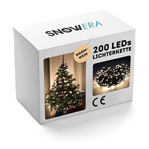 SnowEra 200er LED Lichterkette, Weihnachtsbeleuchtung für innen und außen mit zuschaltbarem Timer, perfekt für den Weihnachtsbaum / Tannenbaum, Lichtfarbe: warm weiß, Länge: ca. 30 m inkl. Zuleitung