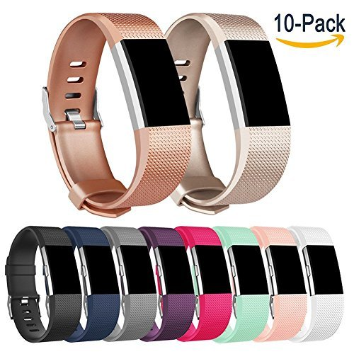 Pour Fitbit Charge 2 Band, AK Fitbit Charge 2 accessoire Band pour Fitbit Charge 2 Bracelet Grande Petite (Capteur non inclus), 10 pack Style A