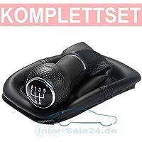 L&P A254 Pomo saco cuerina negro con costura negra de palanca de cambios cambio velocidad velocidades 12mm con 5 marchas marco saco de conmutación imitación de cuero pieza de recambio número numero 1J0711113 1J0711113c