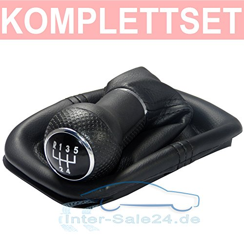 L&P A252 Schaltsack Schaltmanschette in Schwarz + Schaltknauf + Rahmen mit 5 Gang mit 23mm Knauf als Plug Play Ersatzteil für 1J0711113 (4 Gang Motor)
