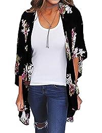 e1e2c3c8acde0 Decha Boho Kimono Veste de Plage Ouverte 3 4 Manches Imprimé Shirt Bikini  Cover-up Blouse Décontractée Anti-UV…