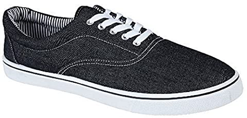 UNISEX LACE UP MENS WOMENS PLIMSOLES PLIMSOLLS PUMPS TRAINERS ESPADRILLES DECK SKATE SHOES CANVAS BOYS GIRLS ADULT SIZES 7-12 (10 UK, BLACK
