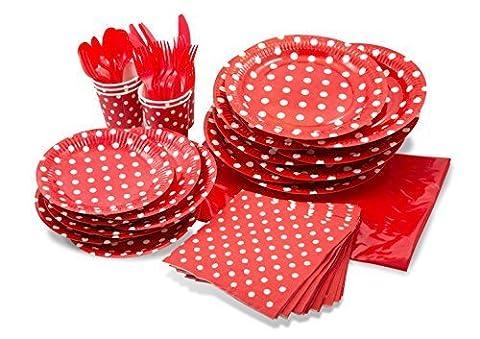 Lolliz® Pack de fête pour 8, Rouge/pois Motif