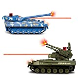 Flying Gadgets Electric Remote Control (RC) Battle Tanks with Lazer & Sounds (Twin Pack) - Blue & Green