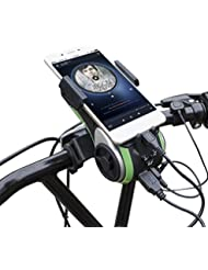 Multifunktions Staub- und wasserdicht IP66 Fahrradlicht - Milool Kabellos Fahrrad Lautsprecher mit Powerbank und Fahrradzubehör(Green)