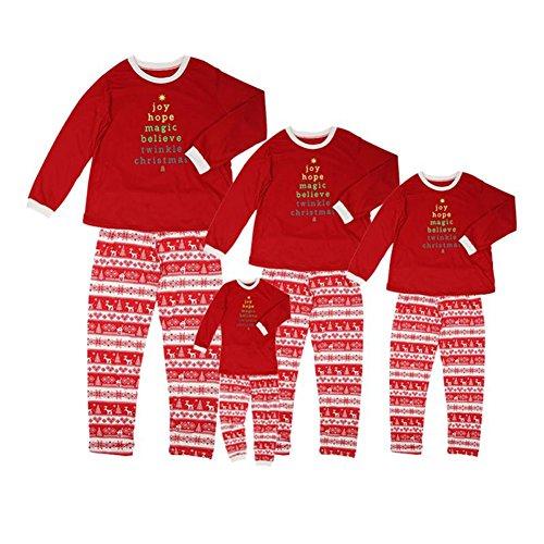Matching Christmas Pajamas for Family Wingbind Cute Elk Snowflake Pattern Round Neck Long Sleeve Pajama Set (Cute Christmas Elf Kostüme)