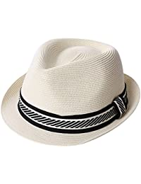 90561c08f0237f SiggiHat Panama Summer Fedora Trilby Straw Sun Hats For Men Safari Beach Hat  - Foldable