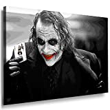 Boikal / Leinwand Bild Joker - Film Batman Heath Ledger Leinwanddruck, Kunstdruck fm30 Wandbild 80 x 60 cm