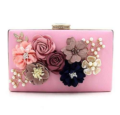 WYB Blumen Abendtasche / wulstige Kupplung / bag Diamant / Perle Abendtasche / Partei-Messenger Bag Pink